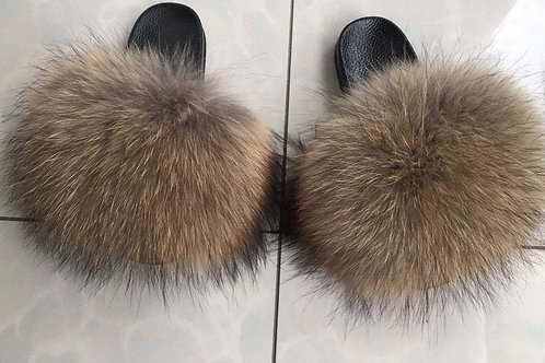 Raccoon Fur Slippers
