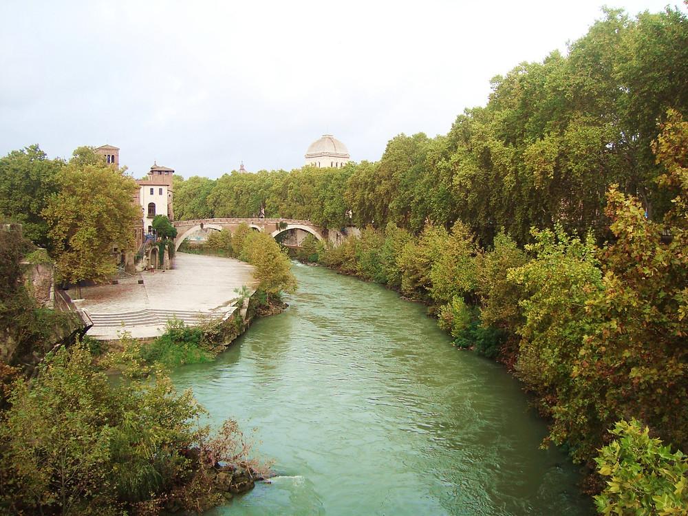 paisaje río puente - Roma Italia