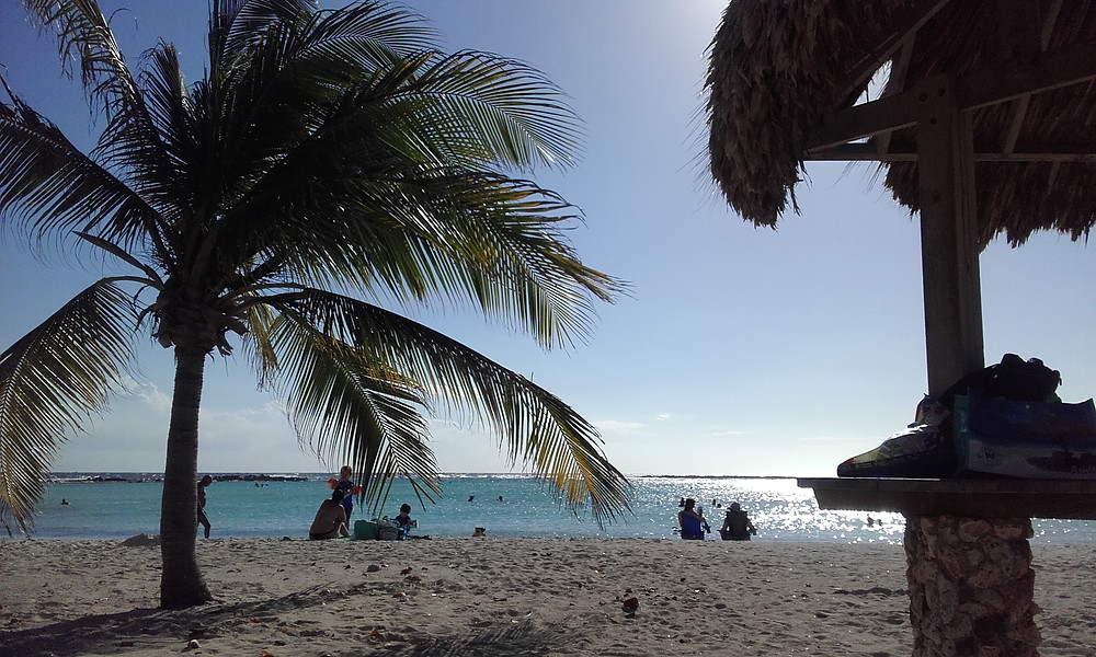Playa para ir con niños en Aruba : Baby beach. Playa con palmeras, mar sin olas como una piscina