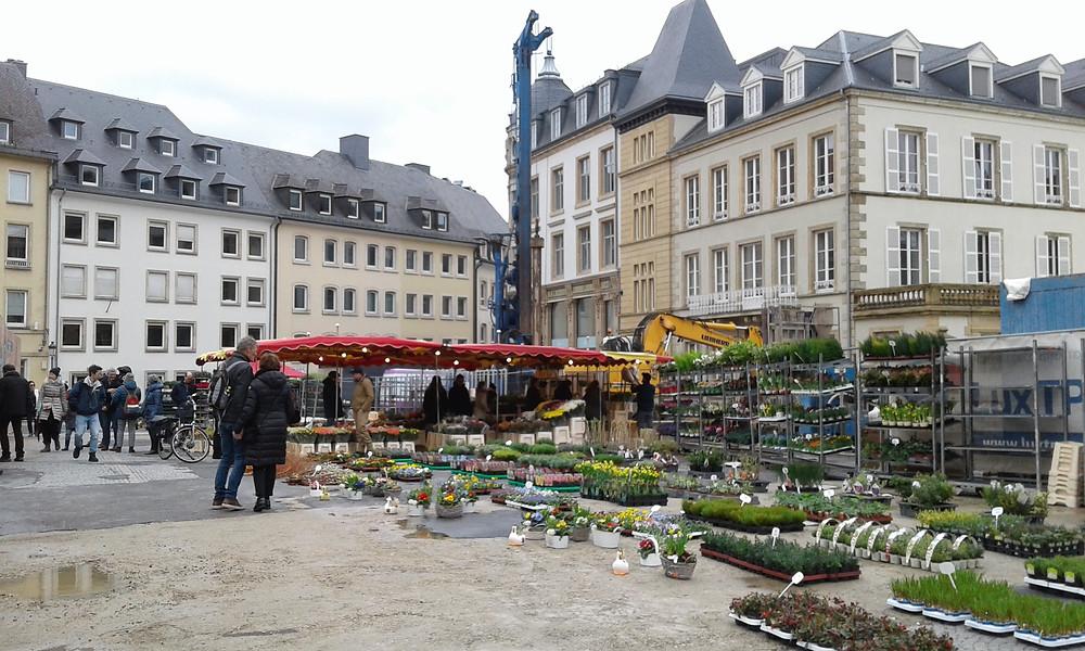 Mercado de especies, plantas y productos regionales en la Plaza Guillermo II en la ciudad de Luxemburgo
