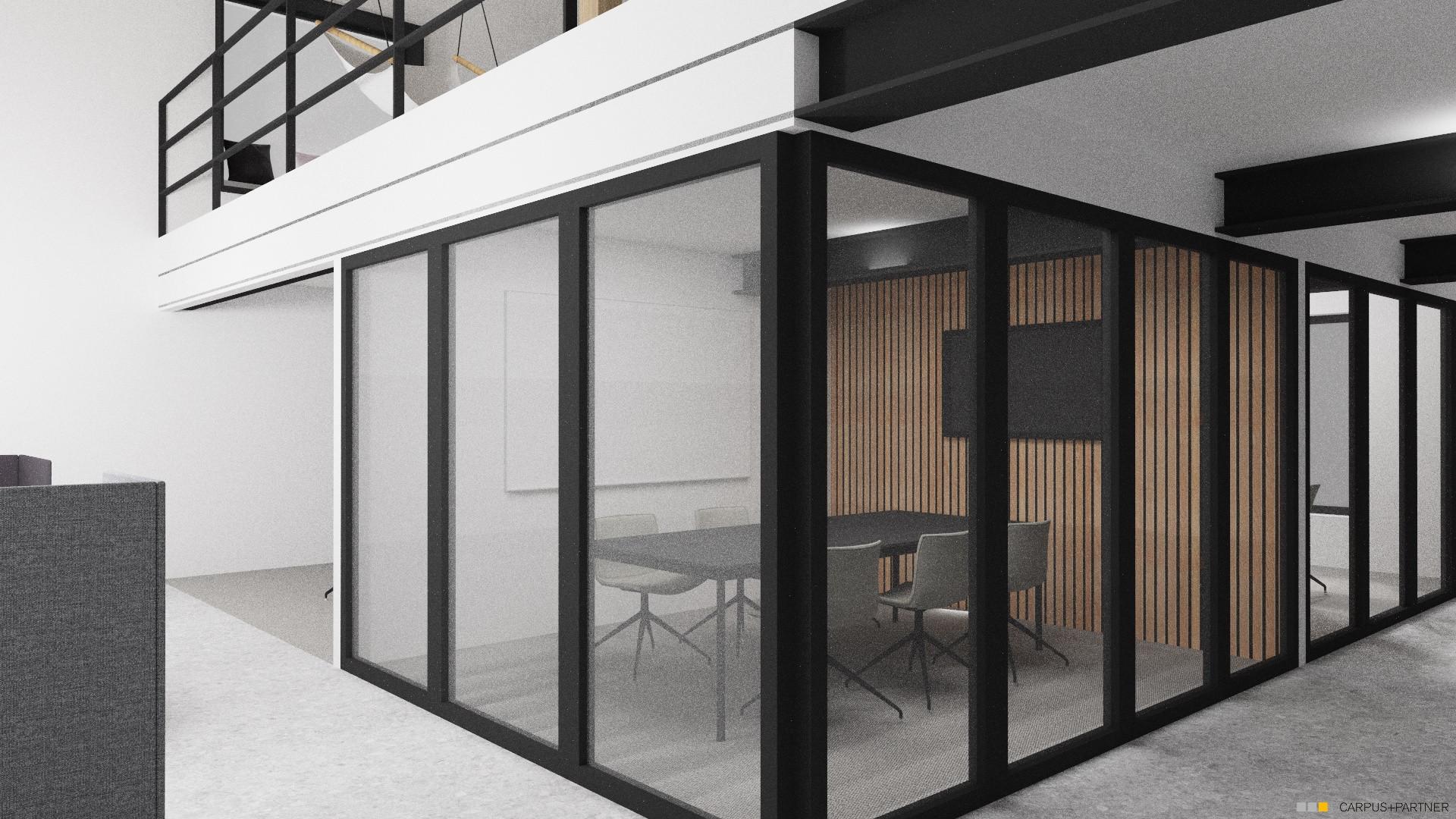 Scheune Erdgeschoss Meetingraum mit Glas