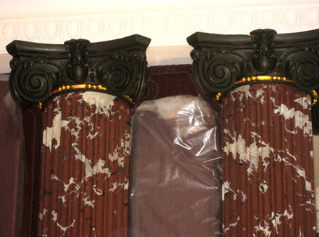 Marbled and bronzed pillars