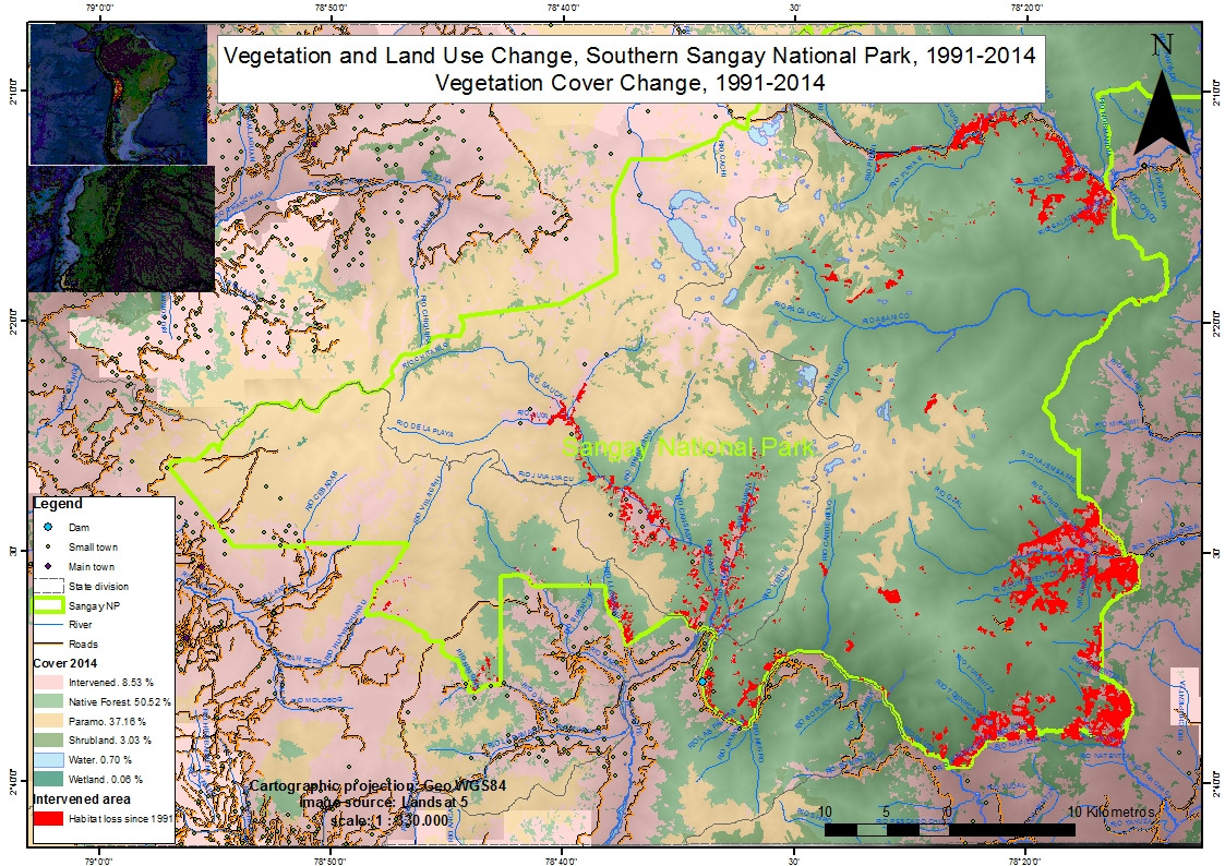 In 1992 Sangay National Park, first established in 1979, was expanded to the south. Although now national park, loss of native habitat (in red) continues.