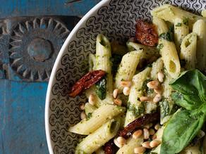 Recipe- Vegan Penne Pasta with Sun Dried Tomatoes and Homemade Vegan Pesto
