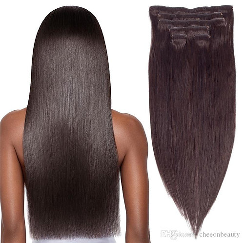 100% Raw Straight  clip ins extensions 160g
