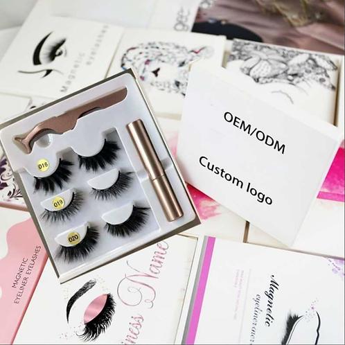 Magnetic  Silk Eyelashes With Eyeliner