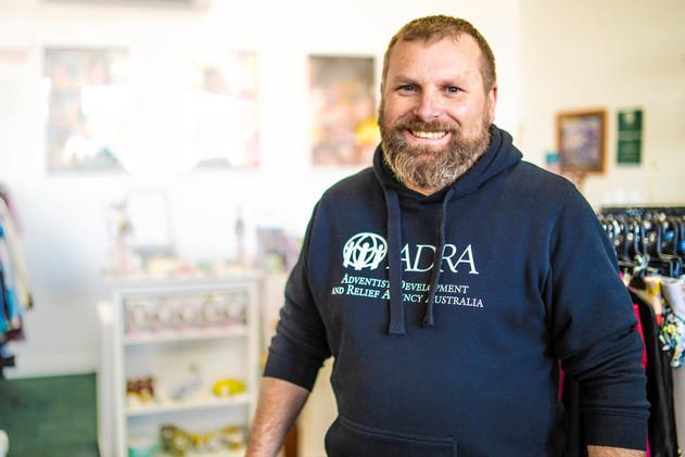 Jonathan volunteering in an ADRA Op Shop
