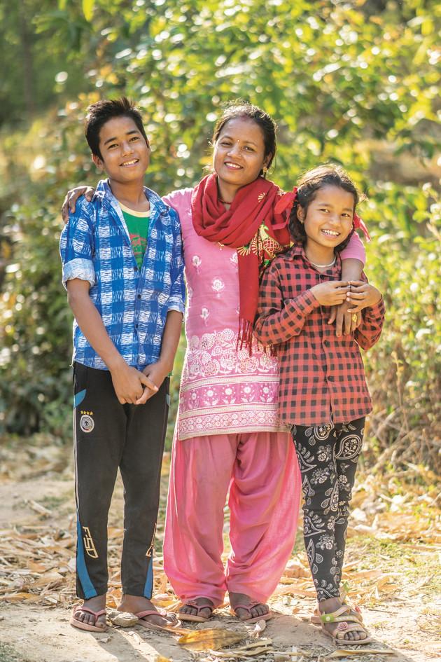 Bhagwati and her children.
