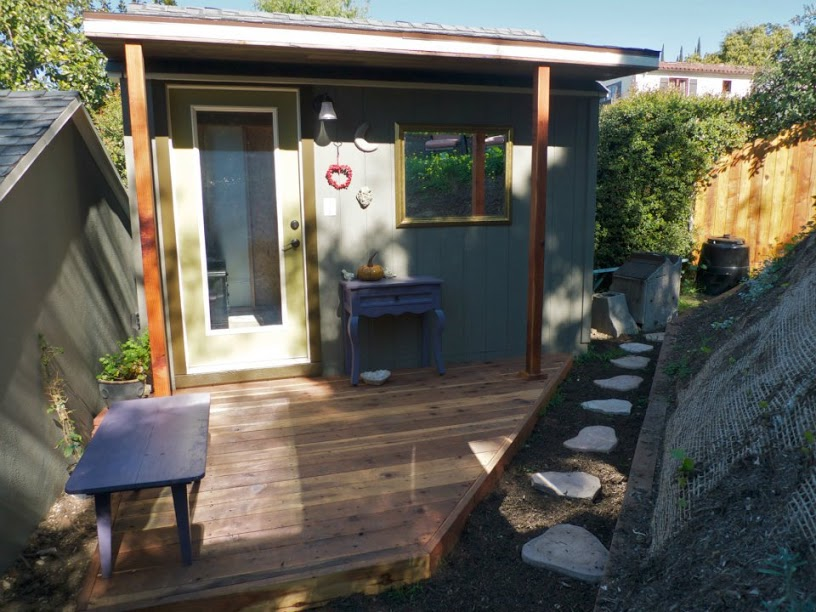 10x12' Art Shed and Redwood Deck