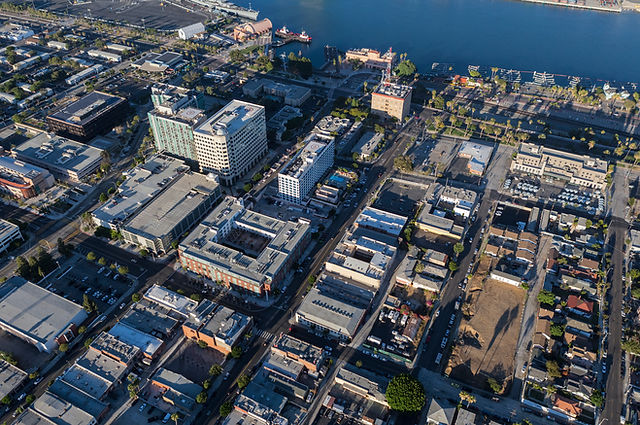 Afternoon aerial view of downtown San Pe