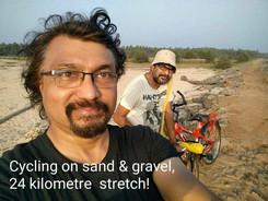 Cycling on single tar roads and gravel tracks in Valiyaparamba