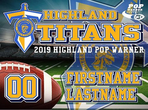 Highland Titans Football Yard Sign