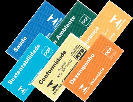 Diversos selos de identificação da conformidade do INMETRO