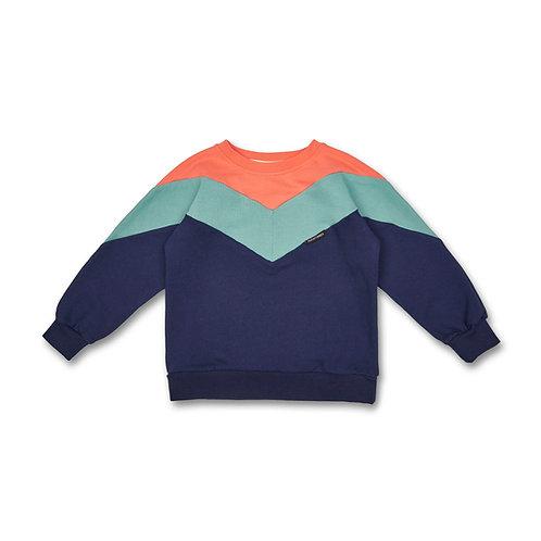 Manitober Cut & Sew Sweatshirt (Bio-Baumwolle) - koralle/mint/blau