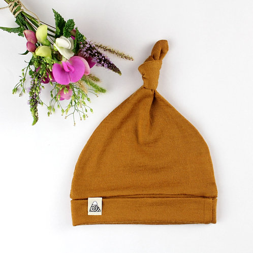 Mütze aus Merinowolle - oker
