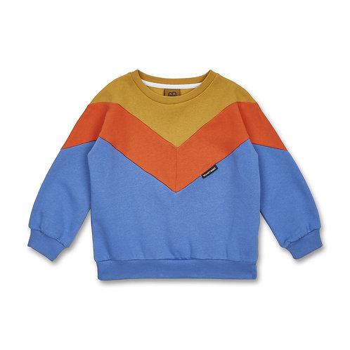 Manitober Cut & Sew Sweatshirt (Bio-Baumwolle) - blau/kaki/orange