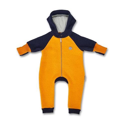 Manitober Kinder Wollwalkoverall - gelb/blau
