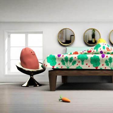 3D model of bedroom using nCloth