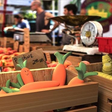 3D models of vegetables on image plane
