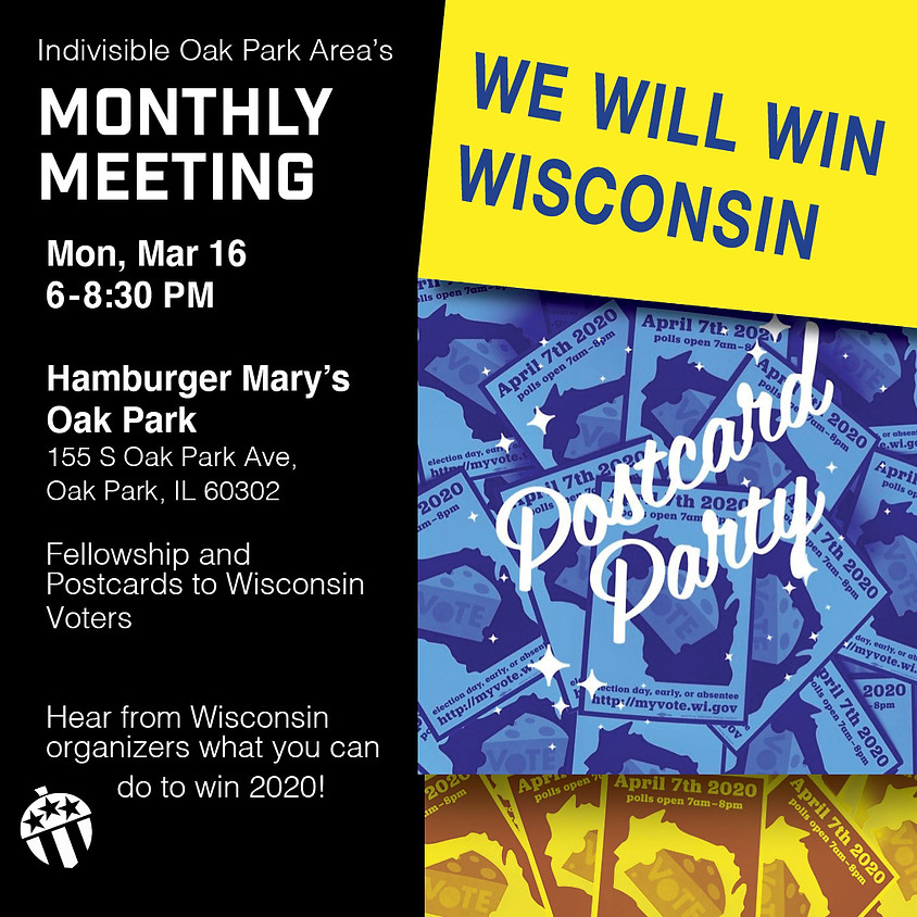 CANCELED - Monthly Meeting Postcard Party! We're working to win Wisconsin!