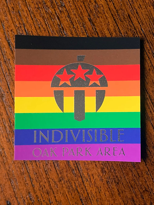 Indivisible Oak Park Area Pride Flag Sticker