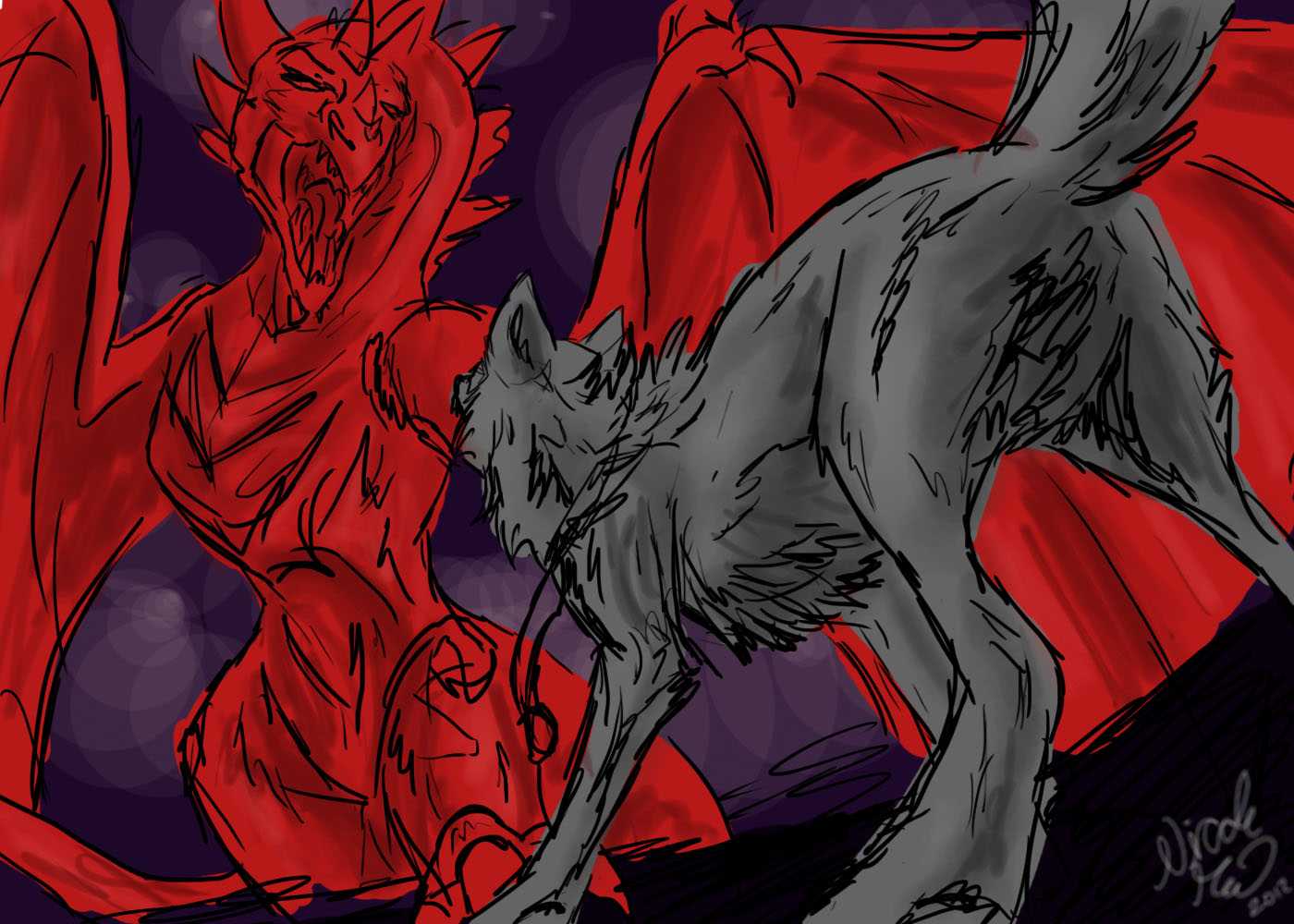 Wolf vs Dragon Sketch