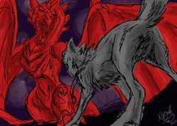 Wolf vs Dragon Sketch