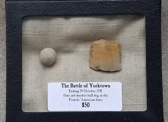 Battle of Yorktown musket ball and  gun flint