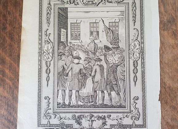 Revolutionary War era Engraving of the Reading of Declaration of Independence