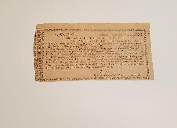Revolutionary War 1781 Connecticut Loan Document from a Minuteman