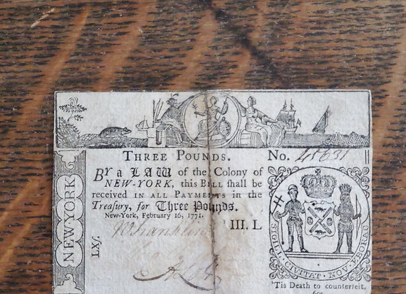 Colonial New York 1771 3 Pound note