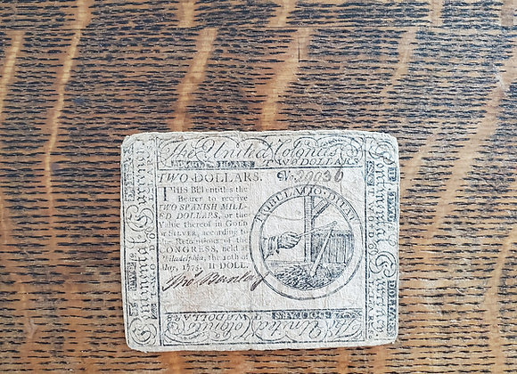 US Continental Currency Note $2 May 1775
