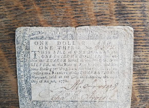 Revolutionary War 1776 Maryland Note
