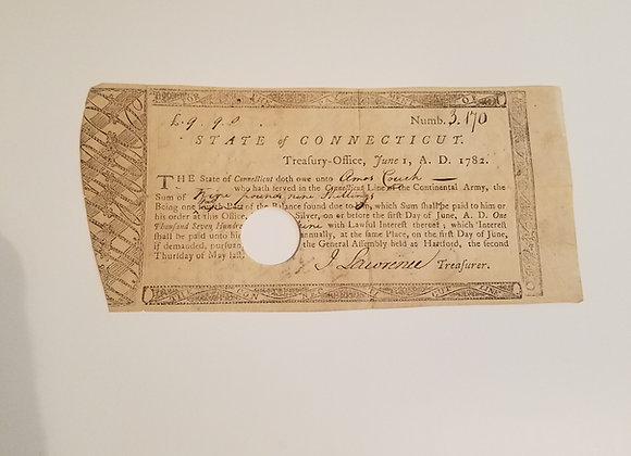 Rev War 1782 Connecticut Regiment Pay Document