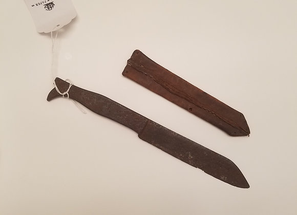 Late 18th c. Blacksmith made Boot Handle Side knife with period sheath