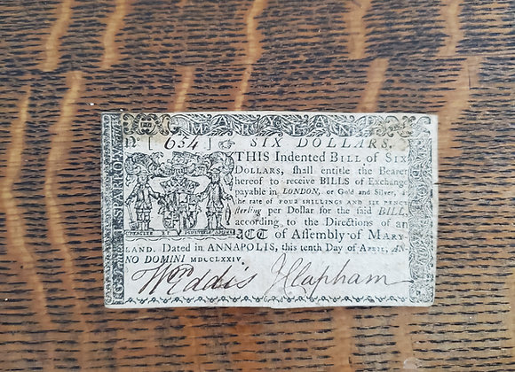 Colonial Maryland $6 Note April 10, 1774