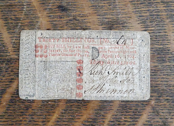 Colonial new Jersey Note 30 Shillings 1764