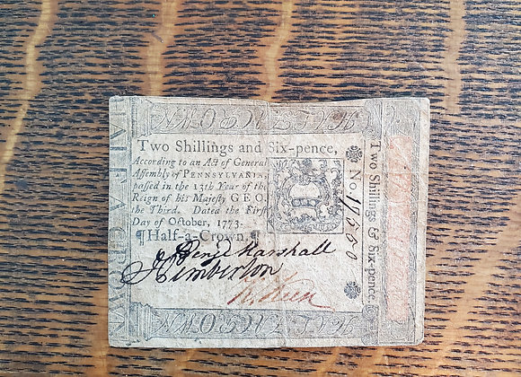 Colony of  Penn. Currency, Oct 1, 1773 2 Shillings 6 p.