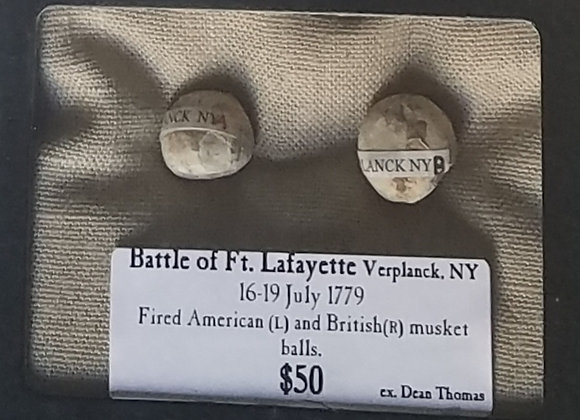 Battle of Ft. Lafayette Verplank NY fired American and British musket balls
