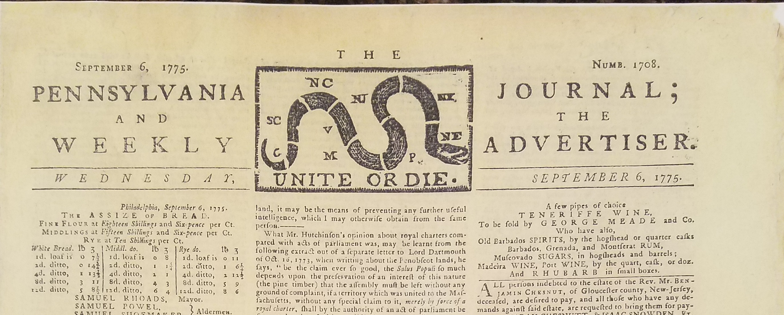 Unite or Die-Penn. Journal