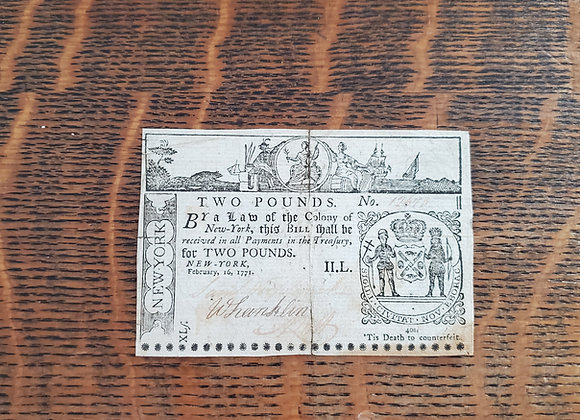 Colonial New York 2 Pound Note Feb. 16, 1771