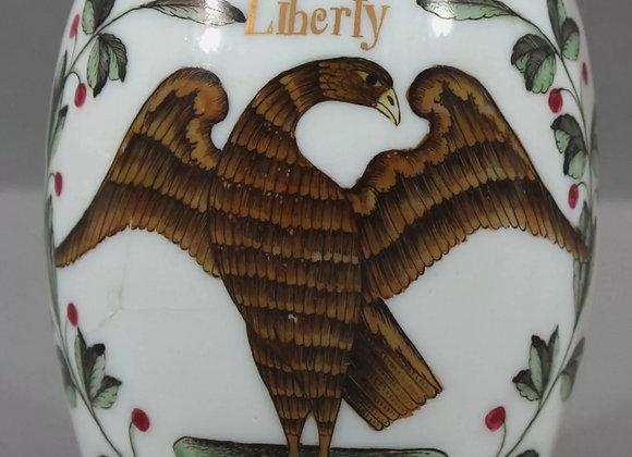 "Rare late 18th c. American ""LIBERTY"" eagle glass mug"