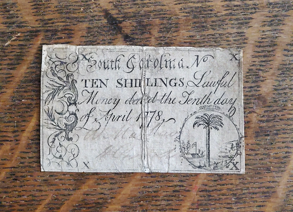 Revolutionary War South Carolina State Currency 10 Shillings 1778