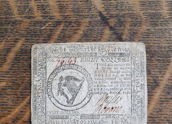 Revolutionary War Continental Currency $8 1776 Note
