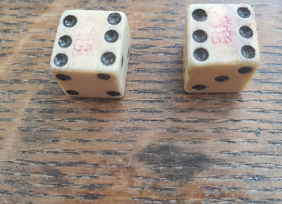 Revolutionary War era  Pair Tax Stamp GR Stamped Dice