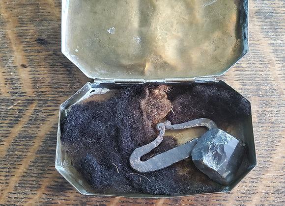 Revolutionary War era Late 18th c. Brass Tinder Box w/ Striker Tinder and Flint