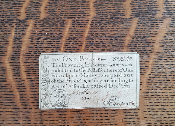 Colonial North Carolina 1 Pound Note Dec. 1771, docketed 1776