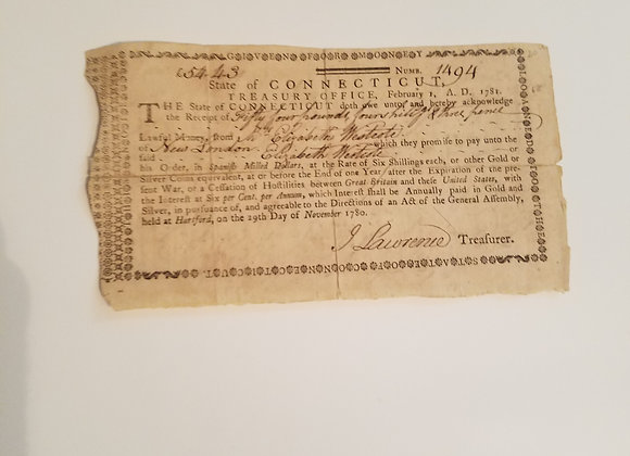 Revolutionary War 1781 Connecticut Loan Document from a Female Patriot