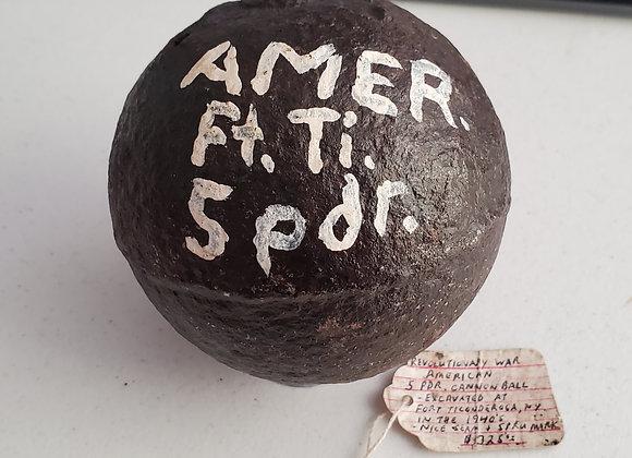 Ft. Ticondeoga dug American cannon ball