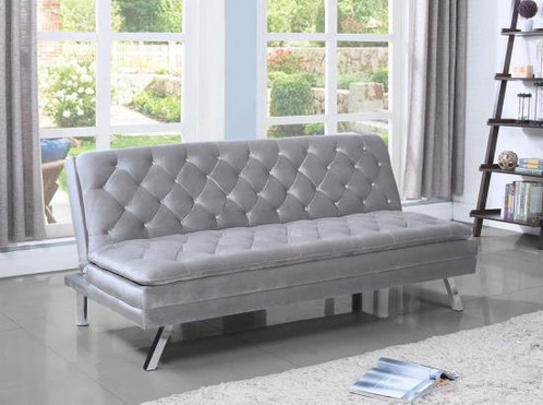The Kelsey Adjustable Sofa Bed Features An Elegant Glam Look With Crystal  Button Tufts In A Silver Velvet. Also Has Pillow Top Seating, Kiln Dried  Hardwood ...